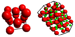 Left: The unit cell for aluminium. The atoms are at the corners and face centres of a cube. <br /> Right: The unit cell for alumina containing aluminium atoms (red) and oxygen atoms (green).